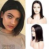 Maxine Cheveux raides brésilien sans colle court Bob Cheveux humains Perruques avec cheveux de bébé 100% cheveux naturels vierges Bob Perruque lace front pour femme noire