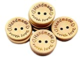 Cdet 100pcs Handmade Wood Buttons 2 Holes Love Round Button Gift Decoration Sewing Buttons Creamy White