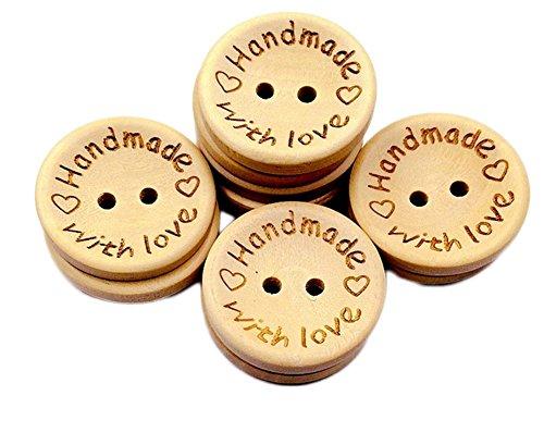 -Holz Tasten handgefertigt Buchstabe mit Love Fell Schnalle Tasten für DIY Basteln Stricken Nähen Reinigungstuch Zubehör 15mm ()