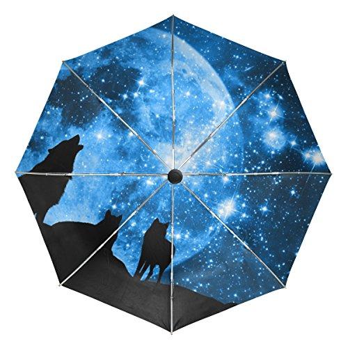 Baihuishop Loup Forêt Arbre Nuit Lune Nebula Universe Galaxy coupe-vent parapluies automatique Open Close 3pliable solide et résistant de golf Parapluie de voyage compact protection UV légère portable facile Carryin