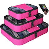 Father's Day Gift - Packing Cubes -  4 pc Set Luggage Organizer - Bonus Shoe Bag Included - Lifetime Guarantee - By Bingonia Travel Accessories ...