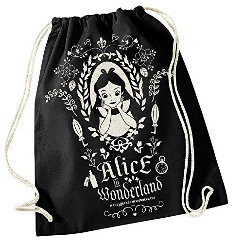 Alice im Wunderland Sportbag Beutel Zauberspiegel Disney 45x39cm Baumwolle schwarz (Johnny Depp Mad Hatter)