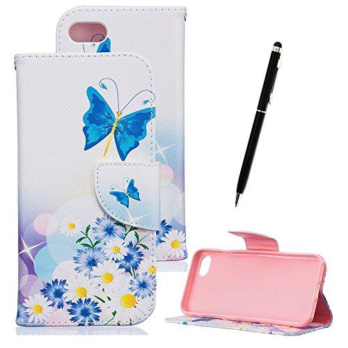 Lederhülle für iPhone 7, Zcro Schutzhülle Magnet Dünn Brieftasche Wallet Handyhülle Ledertasche Etui Flip Case mit Muster Kartenfach Frei Schwarz Eingabestift für iPhone 7 4.7 Zoll (Blaue Schmetterling Blumen)