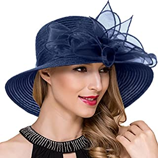 Womens Derby Church Dress Cloche Hats Royal Ascot Party British Wedding Bucket Hat S051 (S052-Navy)