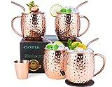 esonmus Moscow Mule Copper Mugs, Juego de 4 Tazas de Cobre Hecho a Mano, Mule Moscow con 1 Jigger 4 Pajitas 4 Posavasos para Cóctel, Vodka y Cerveza