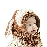 Kindermütze, niedlich, für Mädchen, Jungen, warm, dehnbar, Schafmütze (Braun, Weiß)