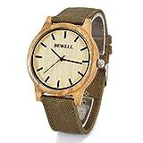 Bewell W134A Casual Canvas Strap Zebra Wood Watch for Men Wooden Dial Quartz Analogue WristWatch