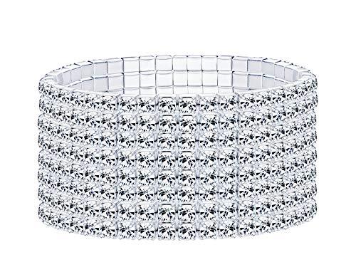 and Für Frauen Hochzeit Armband Glänzender Kristall 1-8 Reihe ()