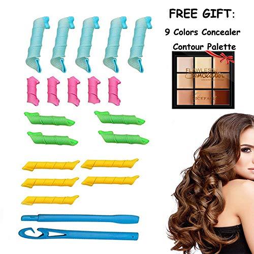 wetwgvsa Hair Curlers Deluxe Range Spiral Curls Styling Kit, 18 STK. Keine Wärme Lockenwickler und 2 Styling-Haken Keine Hitze Lockenwickler Nachtschlaf Magie Kissen Weiche Lockenwickler