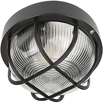Knightsbridge TPOV60B IP54 Oval Bulkhead Black With Wire Guard /& Glass Diffuser