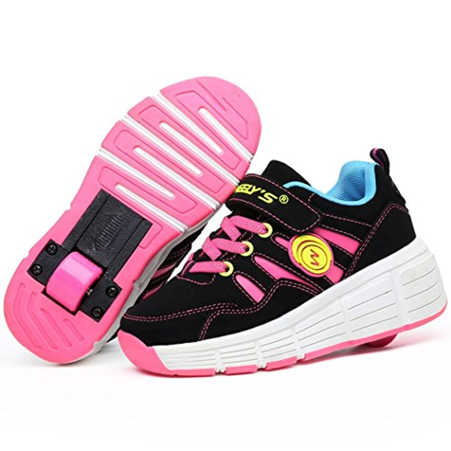 Roller skate trainers / sneakers with automatic wheels - Pink - UK 2 - EU 34