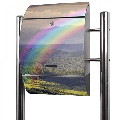 BANJADO Edelstahl Briefkasten groß, Standbriefkasten freistehend 126x53x17cm, Design Briefkasten mit Zeitungsfach Motiv Nach Dem Regen
