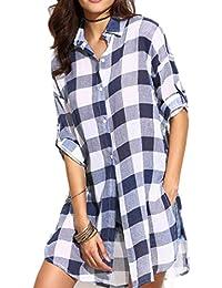 Camisas mujer,Culater Blusas Elegante Slim Tartán