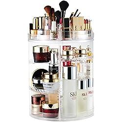 AMEITECH Organisateur de Maquillage, Bijoux Ajustable Rotatifs à 360 Degrés et Support D'écran Cosmétique, 8 Couches de Rangement - Crystal Clear