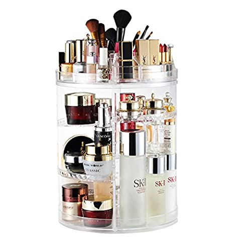 Makeup Organiser, 360 Degree Rotating Adjustable Jewelry and Cosmetic Display Stand, 8 Layers Make Up Storage Box - Crystal