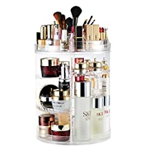 AMEITECH Makeup Organizer, 360 Degree Rotating Adjustable Cosmetic Storage Display Case with 8 Layers Large Capacity, Fits Jewelry,Makeup Brushes, Lipsticks and More, Clear Transparent
