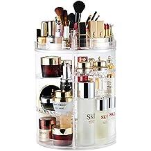 Organizador del Maquillaje, 360 Grados que Giran la Joyería Ajustable y el Soporte de Exhibición Cosmético, 8 Capas Componen la Caja de Almacenaje - Claro Cristalino