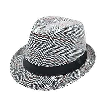 JEDAGX Striped Houndstooth Trilby Hat Panama Style Summer Beach Sun Jazz Hat 58cm