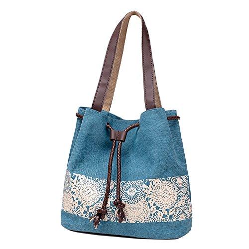 MSZYZ Weihnachtsgeschenke Druck Leinwand Tasche Dame Handtasche Schultertasche Freizeitaktivitäten Einfache Bucket Bag Blau