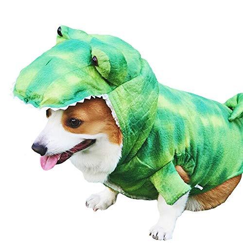 FLAdorepet T-Rex Halloween-Kostüm für große Hunde, Dinosaurier, Winter-Fleece, Kleidung bei kaltem Wetter für Labrador Corgi