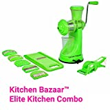 Kitchen Bazaar™ Elite Kitchen Combo - Fruit & Vegetable Manual Juicer Mixer Grinder With Steel Handle, 6 In 1 Multi-Purpose Fruit & Vegetable Slicer & Multi Veg Cutter with Peeler - Chilly Cutter,Carrot ,Banana Cutter - Set of 3, Green