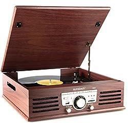 Sunstech PXR3 - Tocadiscos (33 y 45 rpm, USB, AM/FM), color marrón