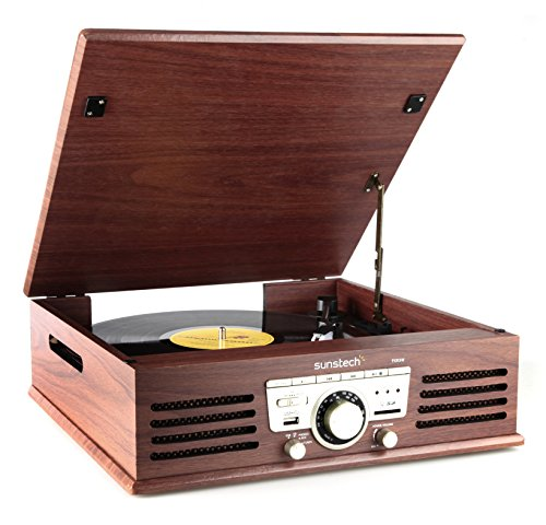 Sunstech PXR3 - Tocadiscos (33 y 45 rpm, USB, AM/FM), color marrón