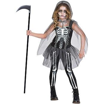 66fee3f4ebd9d Kids Girls Black and Bone Gothic Skeleton Bones Mesh Tutu Dress ...