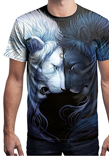 Belsen Damen Blusenbody T-Shirt, Animalprint Wolf Medium Lion fighting