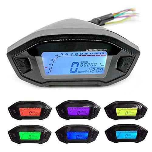 GZLMMY - Velocímetro digital universal para motocicleta (pantalla LCD, retroiluminación, 2,4 cilindros, 1300 r/min)