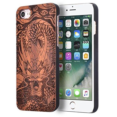 iPhone 7 Hülle, Vandot Holz iPhone 7 Schutzhülle Ultra Dünn Echtem Wood Hart Case Cover mit PC Hard Bumper Handytasche Retro Handmade Muster Patter Passgenaues Telefonkasten Handyhülle Handgefertigt R Design 11