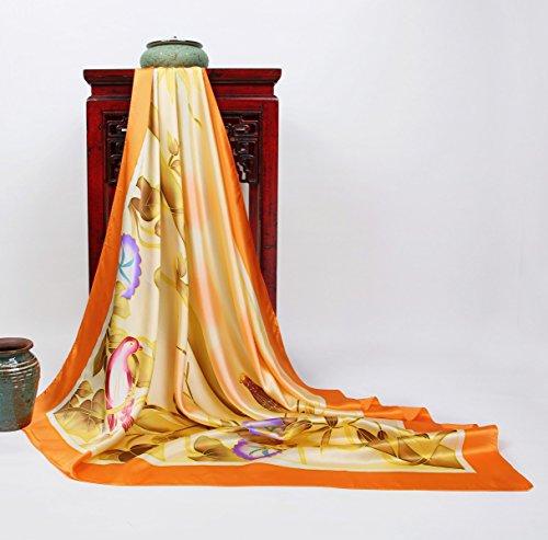 Prettystern - peint à la main foulard de soie 110cm pastels fleur motif peinture chinoise TSH13 Multicolore