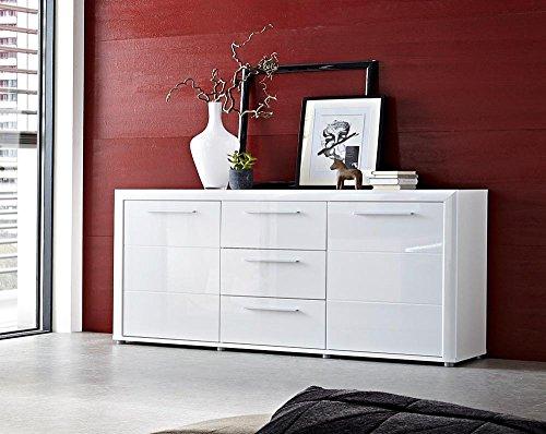 Sideboard in Hochglanz weiß, 2 Türen, 3 Schubkästen, 2 Einlegeböden, Maße: B/H/T ca. 180/90/43 cm