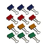 Wedo 642141909 Foldback Klammern 19 mm, 12 Stück, lackiertes Metall Abnehmbare Bügel, Starke Feder, Farbig Sortiert