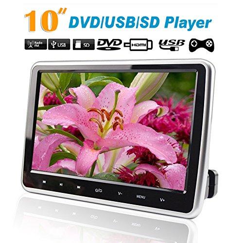 """10.1""""HD Appuie-tête DVD 1080P Ecran TFT Car DVD Player Ultra Mince Lecteur Numérique de Voiture Soutient DVD / USB 32 Bits Jeux HDMI Function autoradio HDMI LCD HD Digitl"""