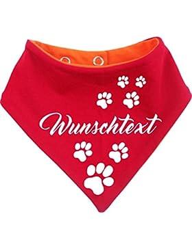 KLEINER FRATZ beidseitiges Multicolor Hunde Wende- Halstuch (Fb: rot-orange) (Gr.2 - HU 31-35 cm) mit Ihrem Wunschtext