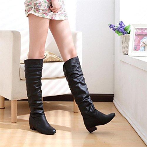 Flache Heels Stiefel für Damen, cinnamou Winter kniehohe Stiefel - High Tube Reiten Outdoor Boots - Low Wedge Schuhe (40, Schwarz) - Knee High Boots