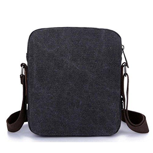 Baymate Unisex Retro Messenger Schultaschen Tasche für Reisetasche Sport Umhängetasche Schwarz