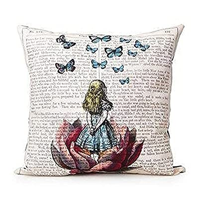 "Bluelans® Butterfly Girl Square Throw Pillow Case Decorative Cushion Cover Pillowcase 18"" x 18"""