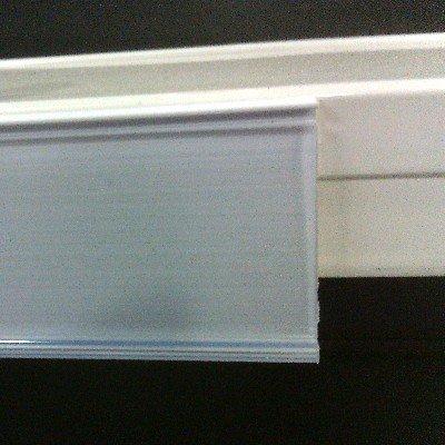 Pack de 50 portaprecios con adhesivo a 1 metro para etiquetas de 30mm . Color Blanco.