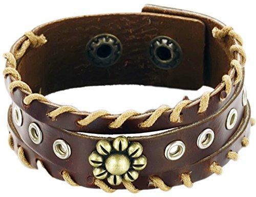 Epinki Herren Kuh Leder Schmuck Armbänder Retro Punk Cool Rivet Blume Muster,Braun (Camo Tri-color)