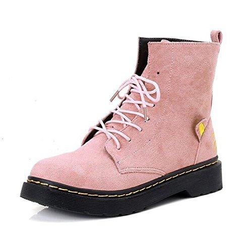 HSXZ Scarpe da donna in pelle Nubuck inverno cadono Comfort combattere Stivali Stivali scarpe tacco basso Round Toe stivali Mid-Calf lacci per Casual Red