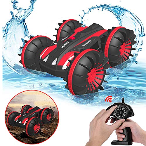 PUZ Toy Christmas Birthday Gifts for 5-12 Year Old Boys Amphibious Remote Control Car for Kid 2.4 GHz RC Stunt Car for Boys 4WD Off Road Monster Truck Best Presents Remote Control Boat Beach Toy