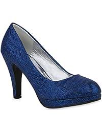 SHOWHOW Damen Glitzer Paillette Spitz Zehe Stiletto Pumps Blau 35 EU tmplJL8