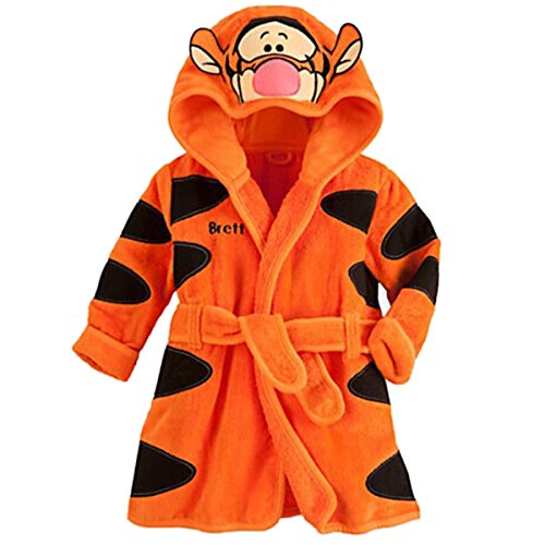 Happy Cherry Baby Bademantel Baumwolle Kinder Jungen Morgenmantel mit Kapuze Cartoon Blumenmuster Tiger Nachtwäsche Langarm Winter Schlafanzug Größe 68 - Orange