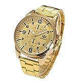 Fashion Gold Schwarz Analog Quarz Armbanduhr für Frauen Männer, Türkei Kristall Luxus Legierung Edelstahl Uhr mit drei Zifferblätter Datum Display