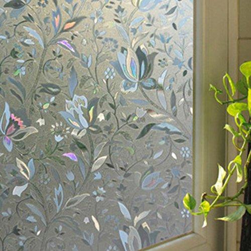 Film autocollant avec filtre opacifiant fleur 3D 100 x 45 cm, PVC, 2, Taille unique