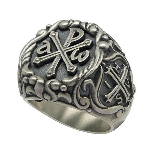 Tempelritter Chi Rho Sterling Silber 925?Herren Ring, ihsv Alfa Omega r?mischen Kaiser Konstantin Kreuz - 64 (20.4)