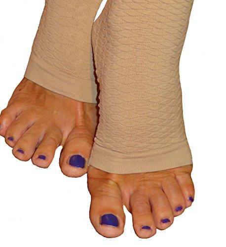 Lange Strumpfhose, schlank machende Kompressions-Leggings (18-21 mmHg) Unterstützung Lipödem-Lymphödem Elfenbein