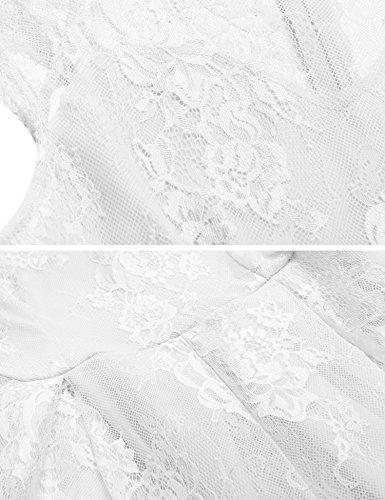 ZEARO Damen Elegant Cocktailkleid Anendkleid Partykleid Sommerkleid Strandkleid Spitzenkleid Knielange Weiß